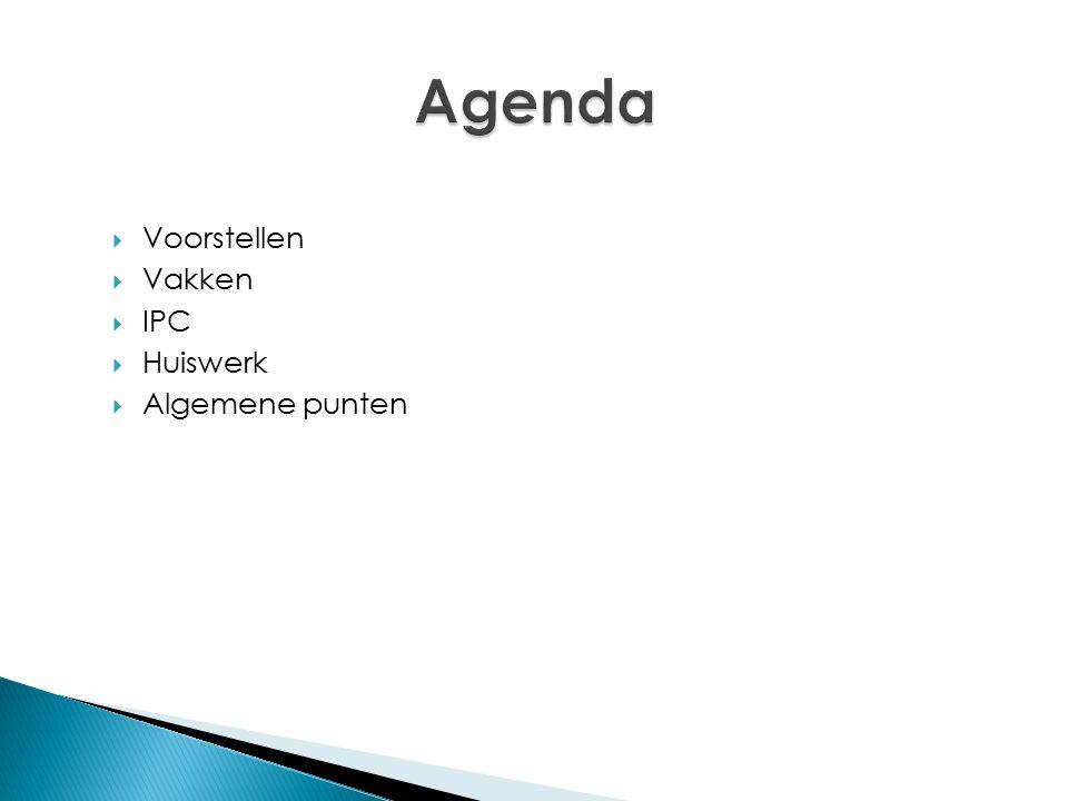 Agenda Voorstellen Vakken IPC Huiswerk Algemene punten