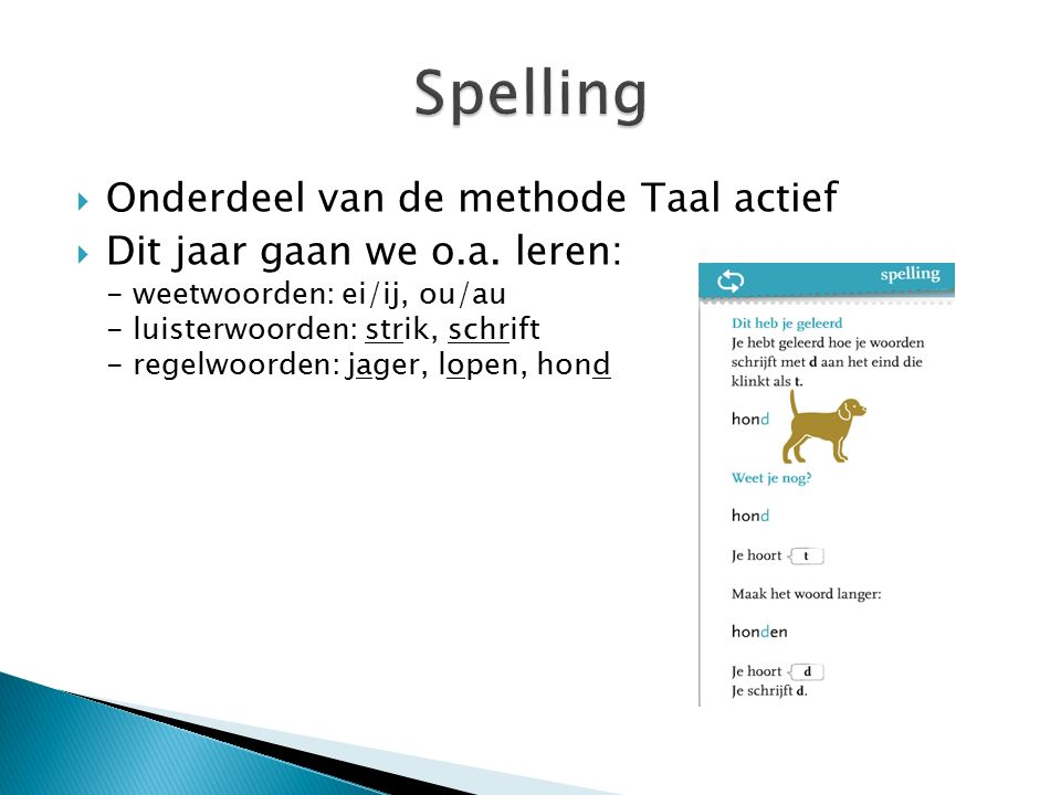Spelling Onderdeel van de methode Taal actief