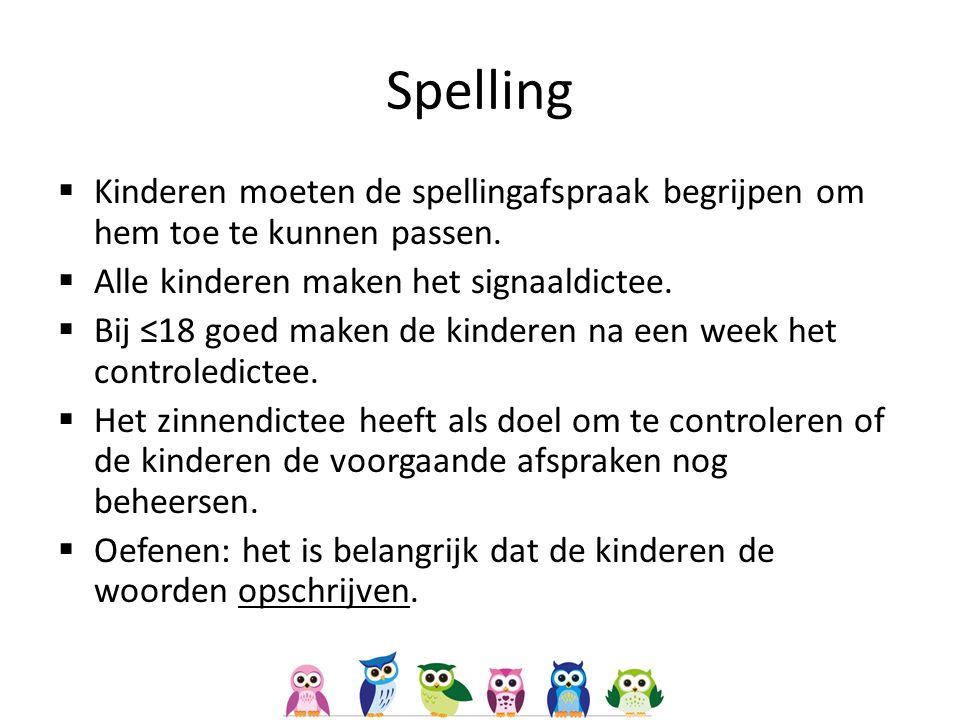 Spelling Kinderen moeten de spellingafspraak begrijpen om hem toe te kunnen passen. Alle kinderen maken het signaaldictee.