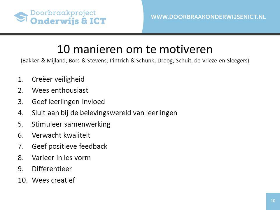 10 manieren om te motiveren (Bakker & Mijland; Bors & Stevens; Pintrich & Schunk; Droog; Schuit, de Vrieze en Sleegers)