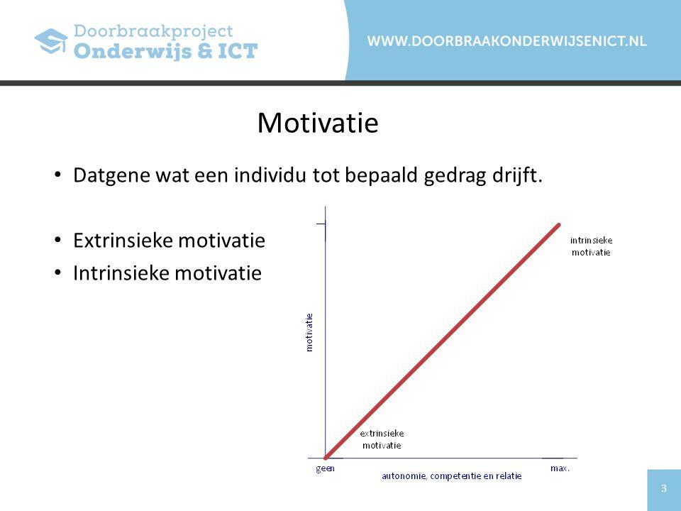 Motivatie Datgene wat een individu tot bepaald gedrag drijft.