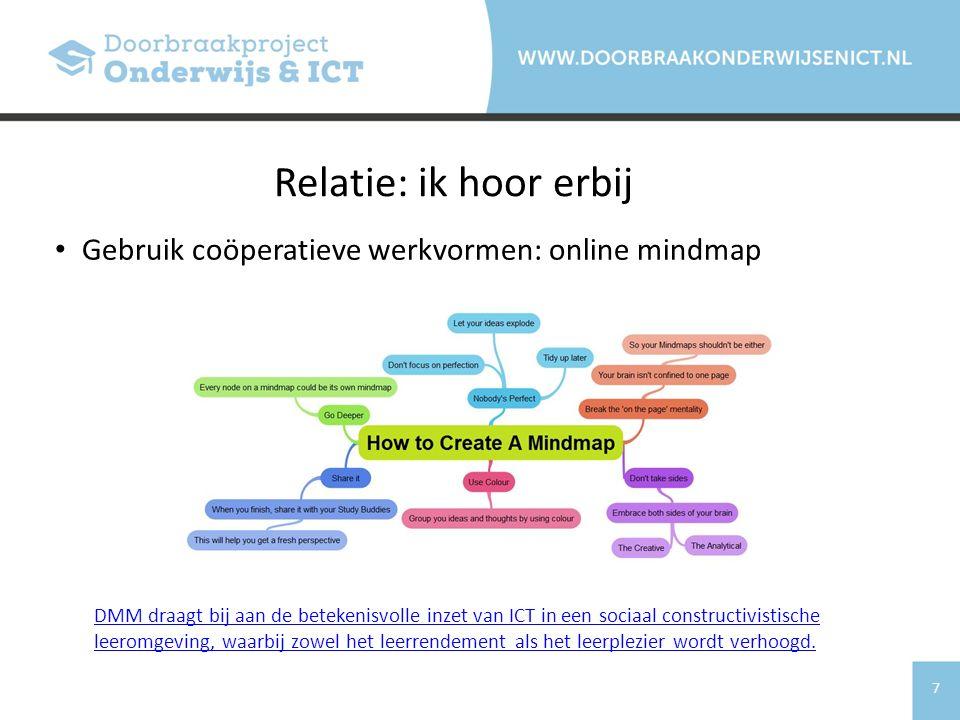 Relatie: ik hoor erbij Gebruik coöperatieve werkvormen: online mindmap
