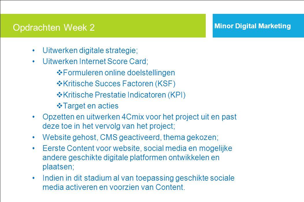 Opdrachten Week 2 Uitwerken digitale strategie;