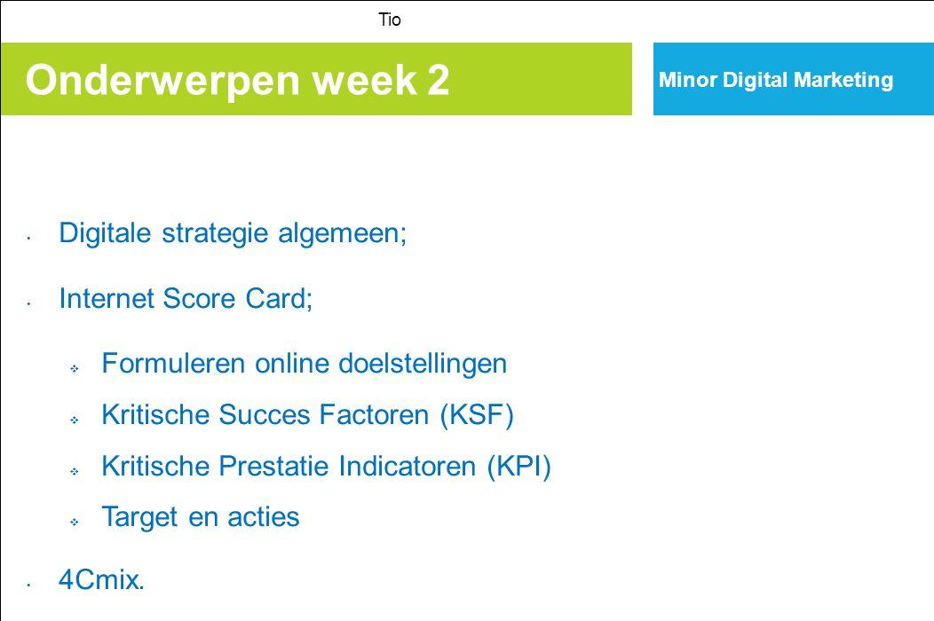 Onderwerpen week 2 Digitale strategie algemeen; Internet Score Card;
