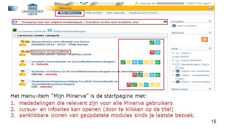 Het menu-item Mijn Minerva is de startpagina met: