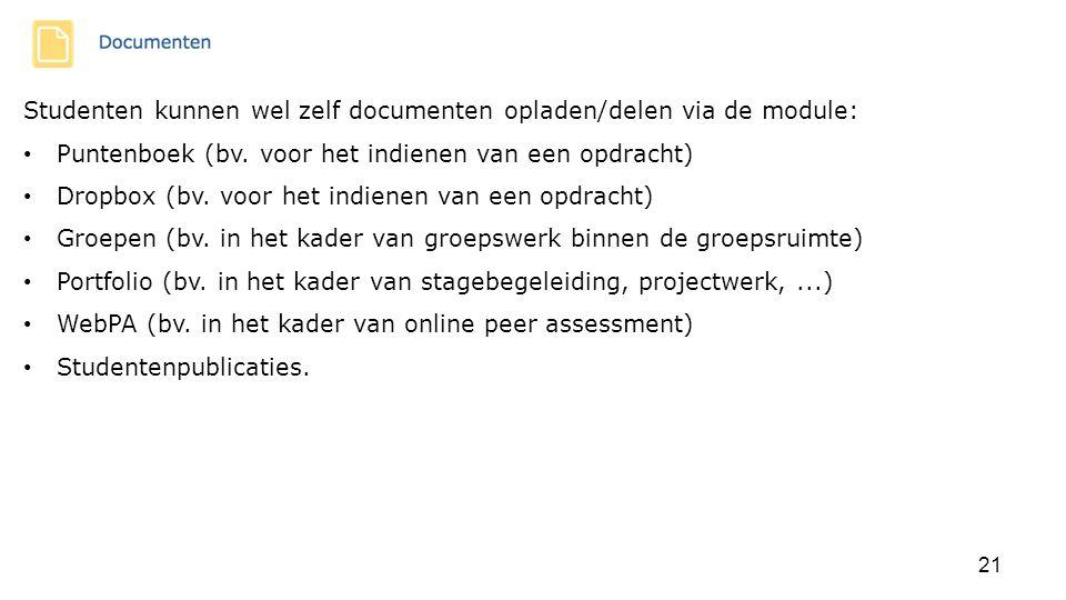 Studenten kunnen wel zelf documenten opladen/delen via de module: