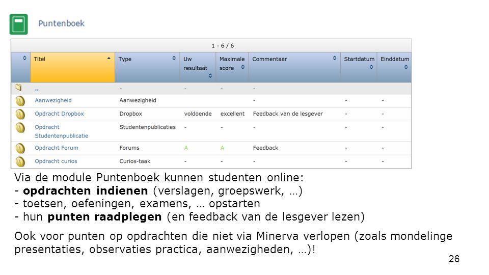 Via de module Puntenboek kunnen studenten online: - opdrachten indienen (verslagen, groepswerk, …) - toetsen, oefeningen, examens, … opstarten - hun punten raadplegen (en feedback van de lesgever lezen)