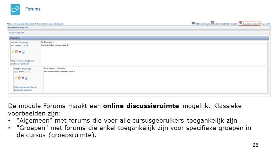 De module Forums maakt een online discussieruimte mogelijk