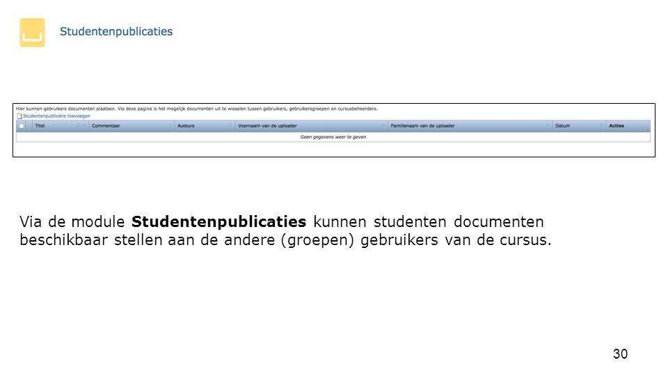 Via de module Studentenpublicaties kunnen studenten documenten beschikbaar stellen aan de andere (groepen) gebruikers van de cursus.