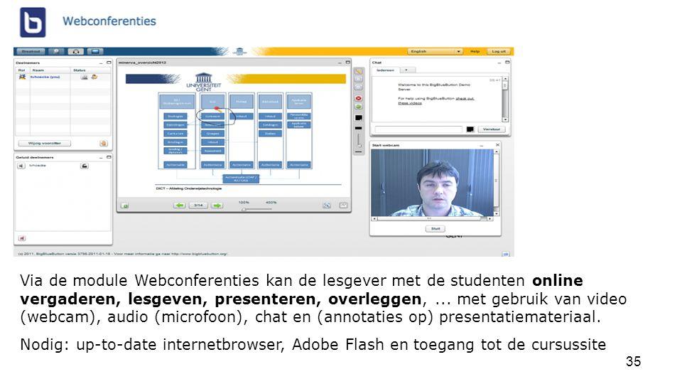 Via de module Webconferenties kan de lesgever met de studenten online vergaderen, lesgeven, presenteren, overleggen, ... met gebruik van video (webcam), audio (microfoon), chat en (annotaties op) presentatiemateriaal.