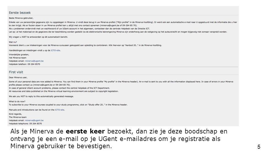 Als je Minerva de eerste keer bezoekt, dan zie je deze boodschap en ontvang je een e-mail op je UGent e-mailadres om je registratie als Minerva gebruiker te bevestigen.