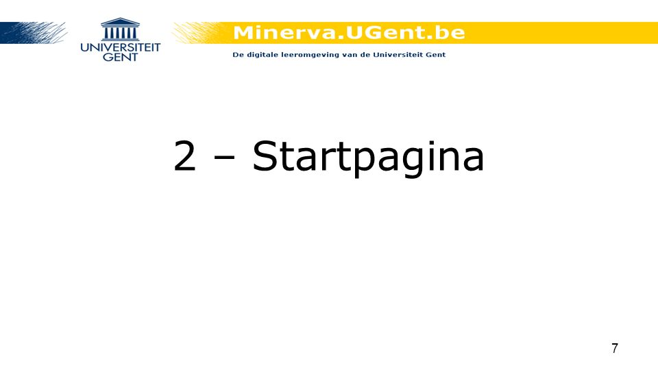 2 – Startpagina