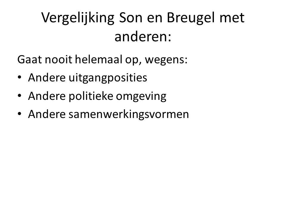 Vergelijking Son en Breugel met anderen: