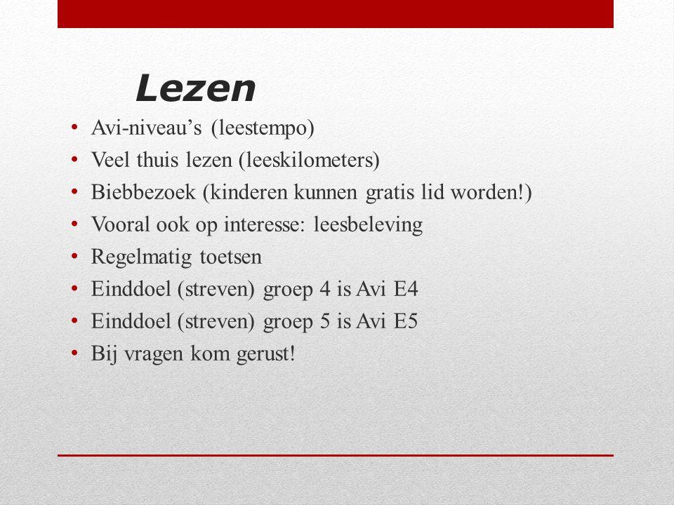 Lezen Avi-niveau's (leestempo) Veel thuis lezen (leeskilometers)