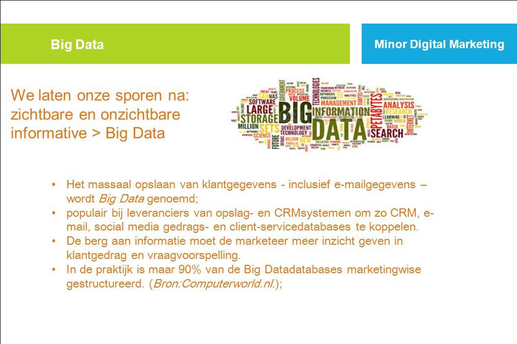 Big Data Minor Digital Marketing. We laten onze sporen na: zichtbare en onzichtbare informative > Big Data.