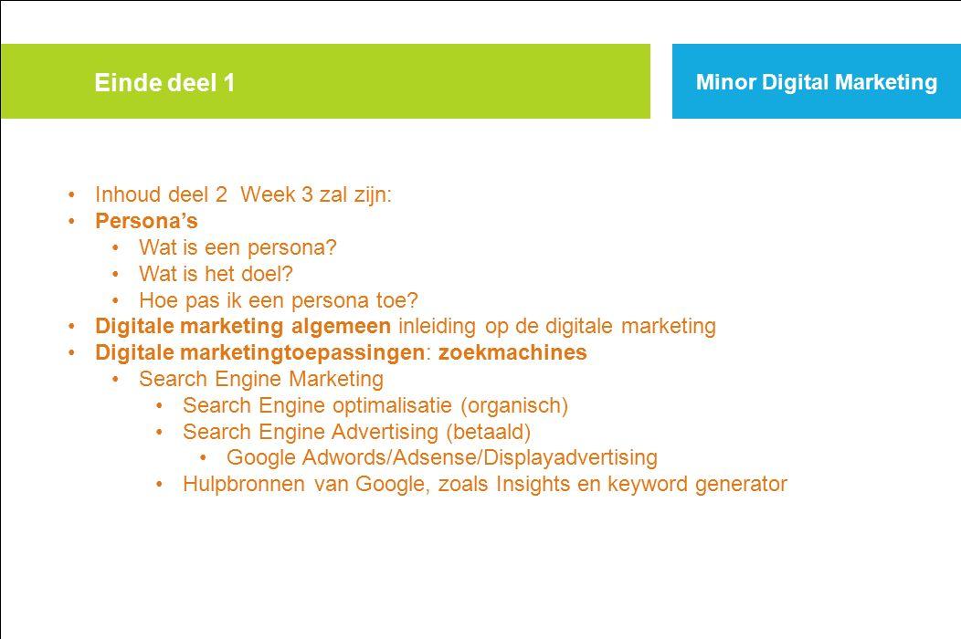 Einde deel 1 Minor Digital Marketing Inhoud deel 2 Week 3 zal zijn: