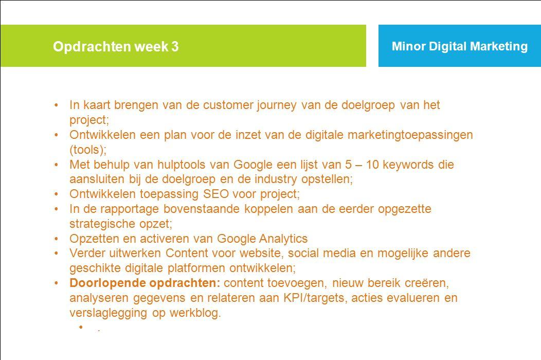 Opdrachten week 3 Minor Digital Marketing
