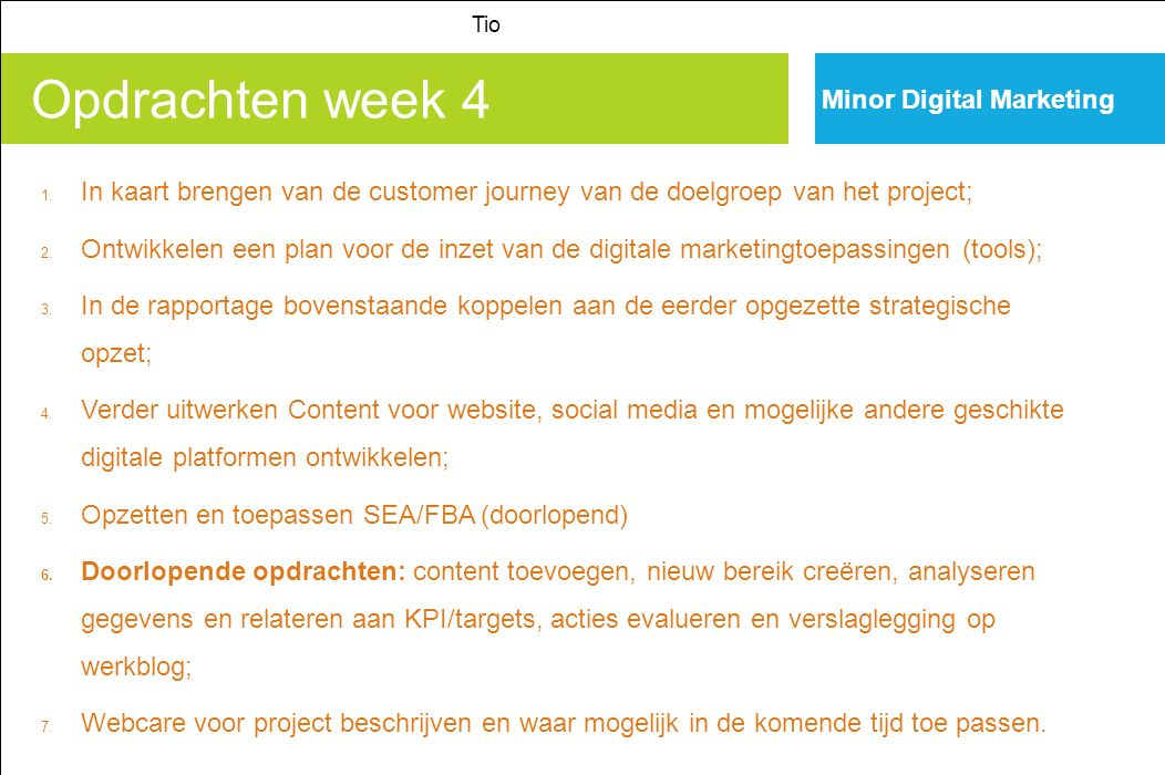 Opdrachten week 4 Minor Digital Marketing