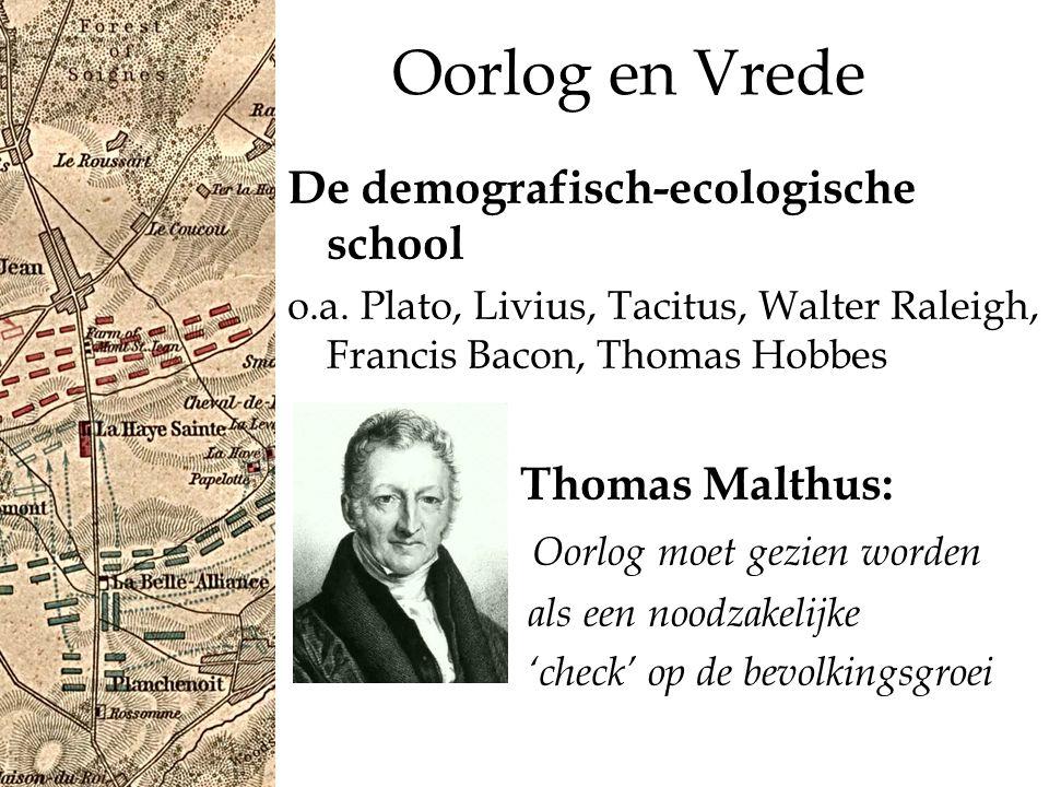 Oorlog en Vrede De demografisch-ecologische school Thomas Malthus: