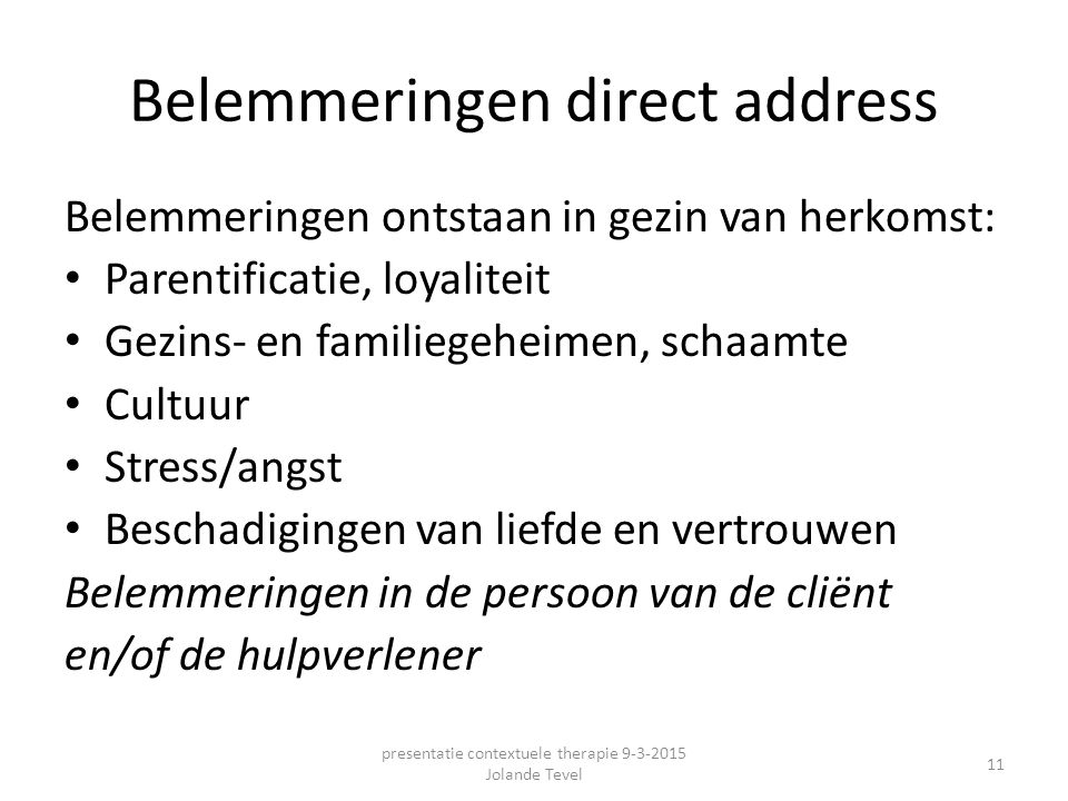 Belemmeringen direct address