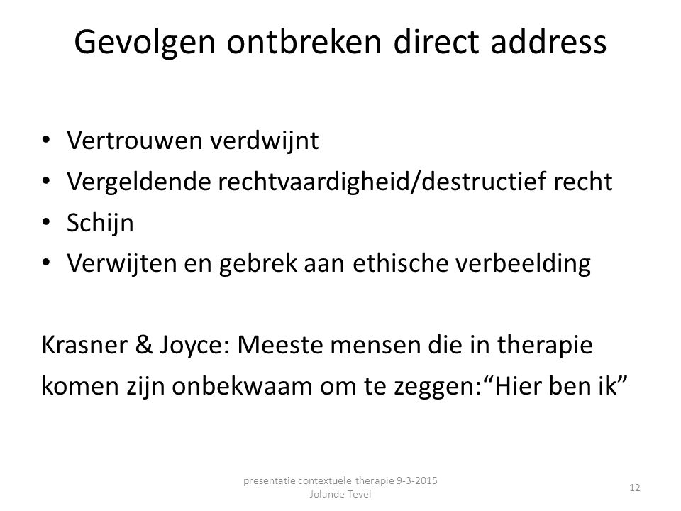 Gevolgen ontbreken direct address