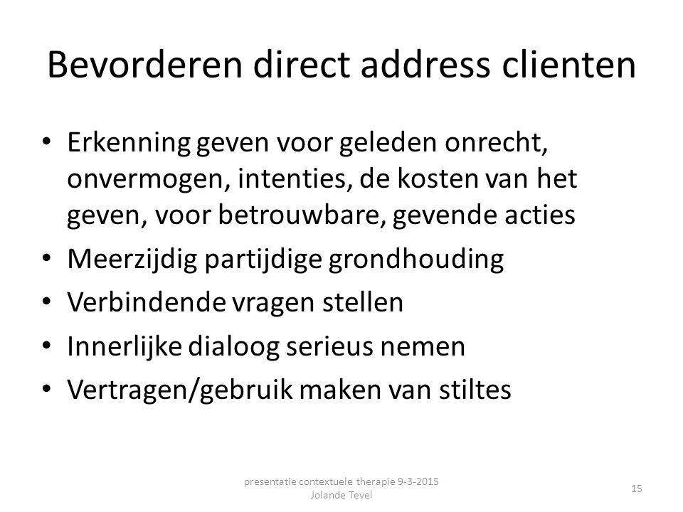 Bevorderen direct address clienten
