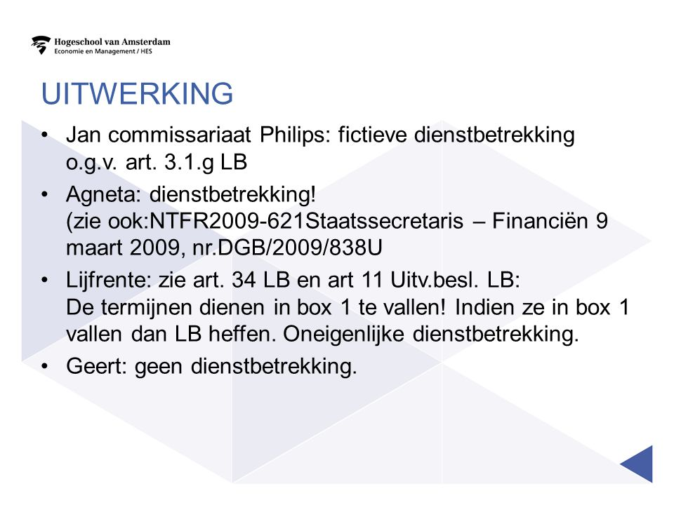 Uitwerking Jan commissariaat Philips: fictieve dienstbetrekking o.g.v. art. 3.1.g LB.