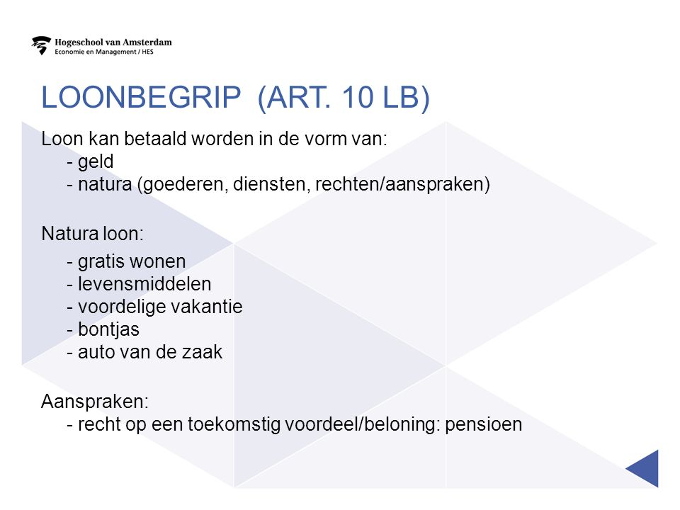 Loonbegrip (art. 10 LB)