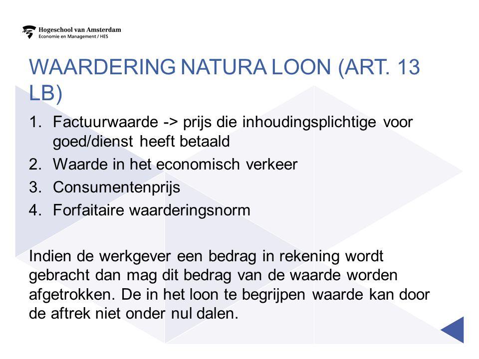 Waardering natura loon (art. 13 LB)