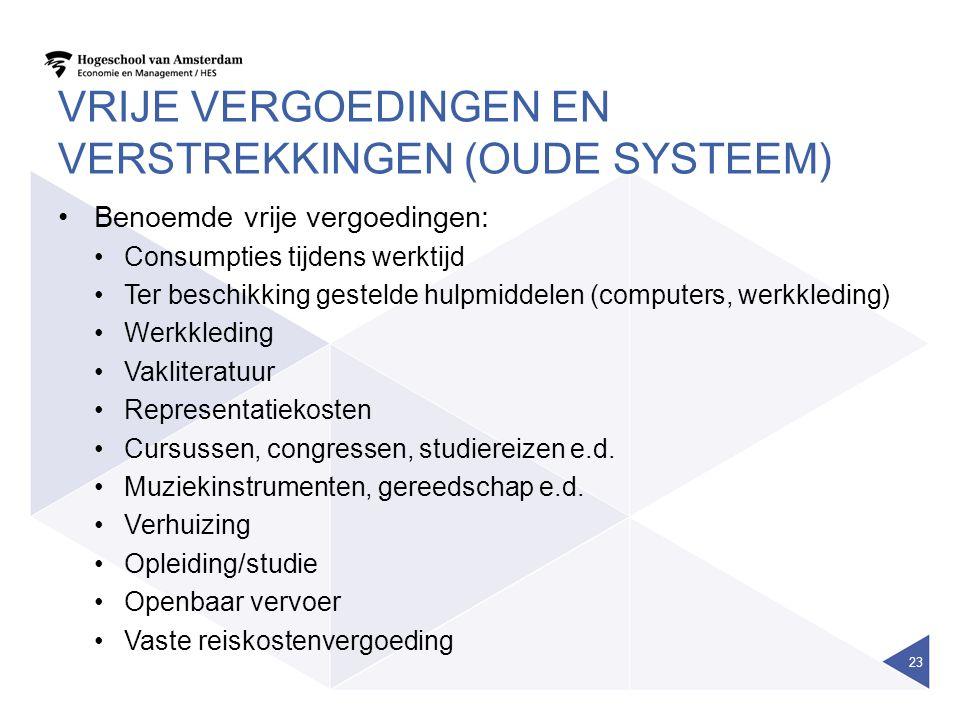 Vrije vergoedingen en verstrekkingen (oude systeem)