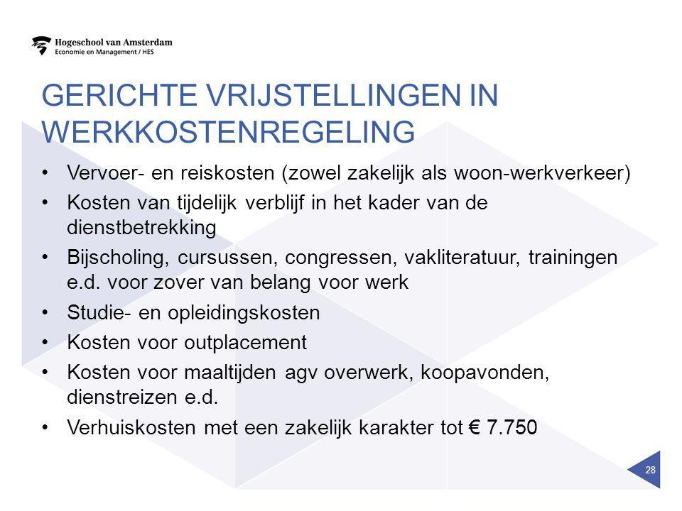 Gerichte vrijstellingen in werkkostenregeling
