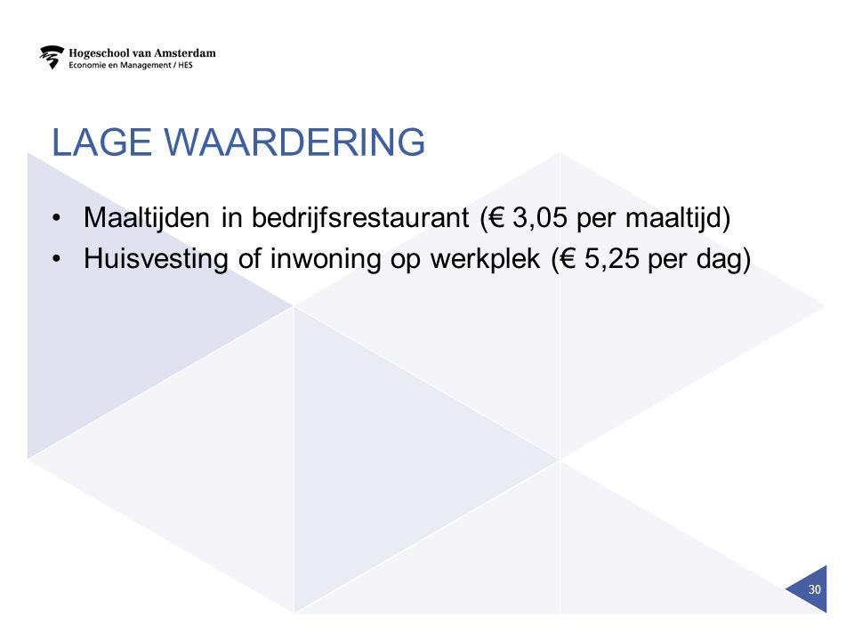 Lage waardering Maaltijden in bedrijfsrestaurant (€ 3,05 per maaltijd)