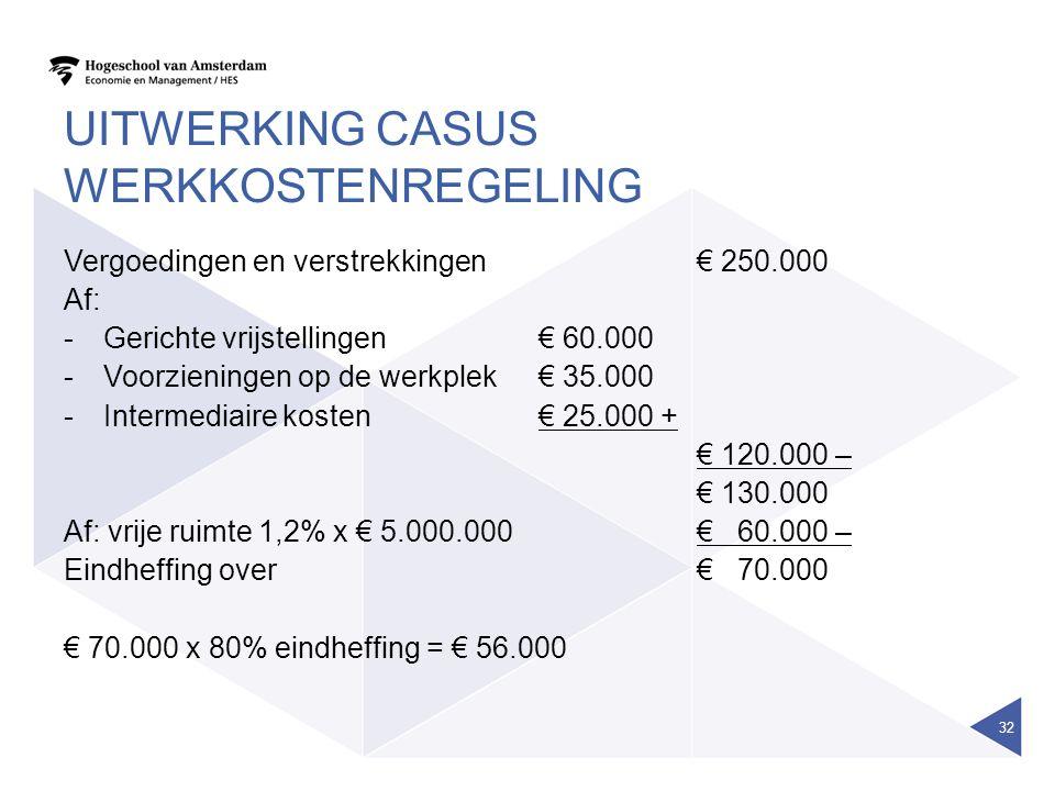 Uitwerking casus werkkostenregeling