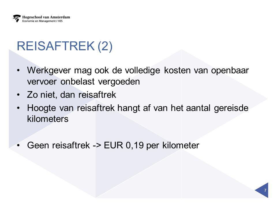 Reisaftrek (2) Werkgever mag ook de volledige kosten van openbaar vervoer onbelast vergoeden. Zo niet, dan reisaftrek.