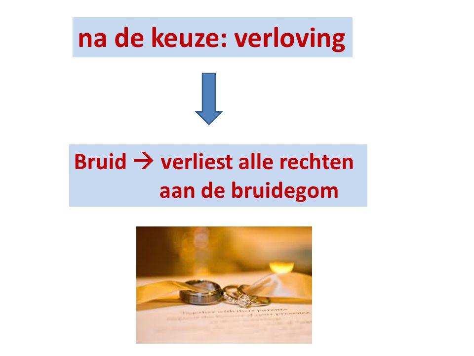 na de keuze: verloving Bruid  verliest alle rechten aan de bruidegom