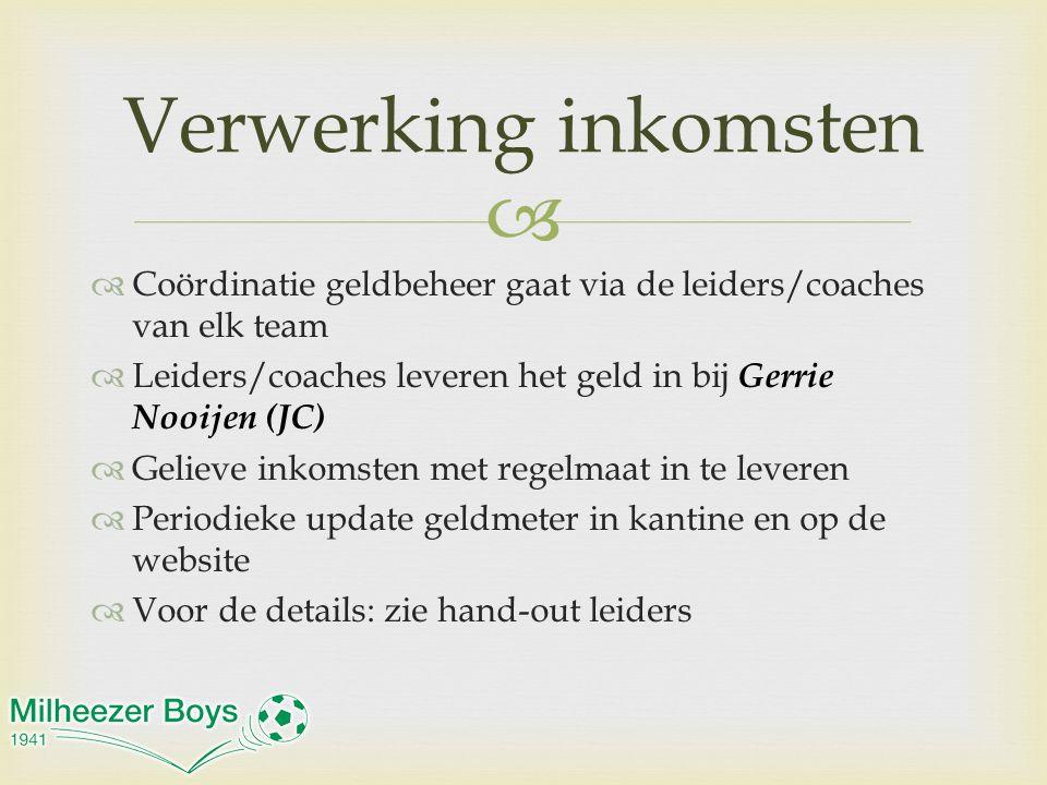 Verwerking inkomsten Coördinatie geldbeheer gaat via de leiders/coaches van elk team. Leiders/coaches leveren het geld in bij Gerrie Nooijen (JC)