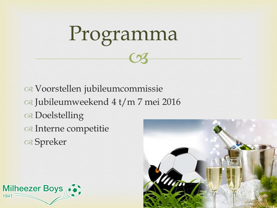 Programma Voorstellen jubileumcommissie