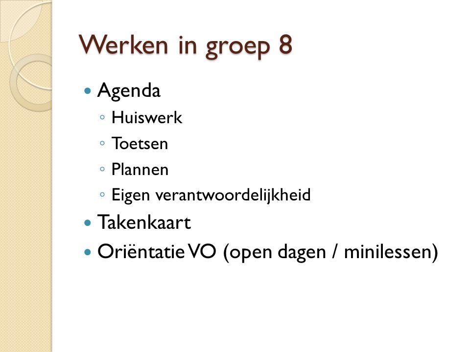 Werken in groep 8 Agenda Takenkaart
