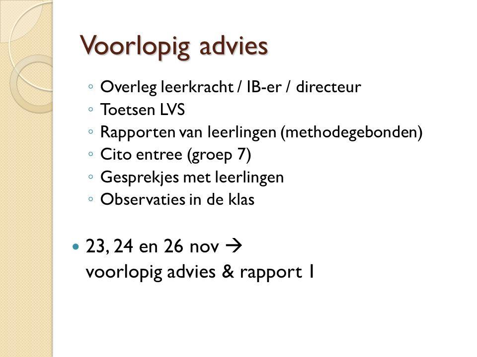 Voorlopig advies 23, 24 en 26 nov  voorlopig advies & rapport 1