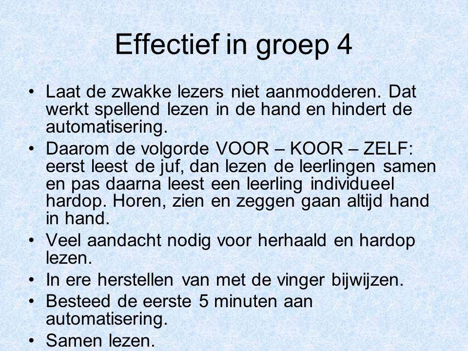 Effectief in groep 4 Laat de zwakke lezers niet aanmodderen. Dat werkt spellend lezen in de hand en hindert de automatisering.