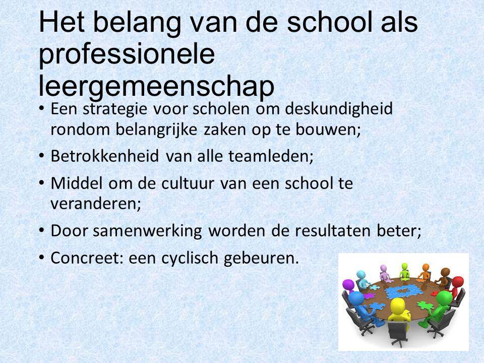 Het belang van de school als professionele leergemeenschap