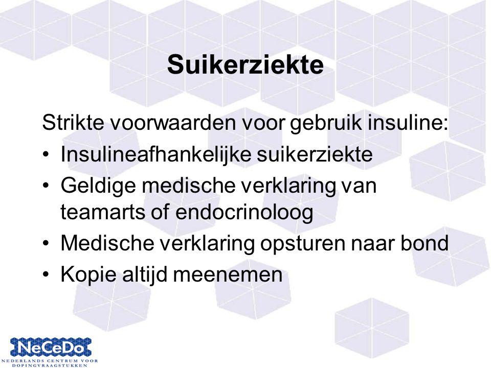 Suikerziekte Strikte voorwaarden voor gebruik insuline: