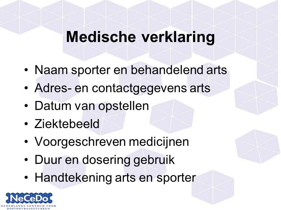 Medische verklaring Naam sporter en behandelend arts