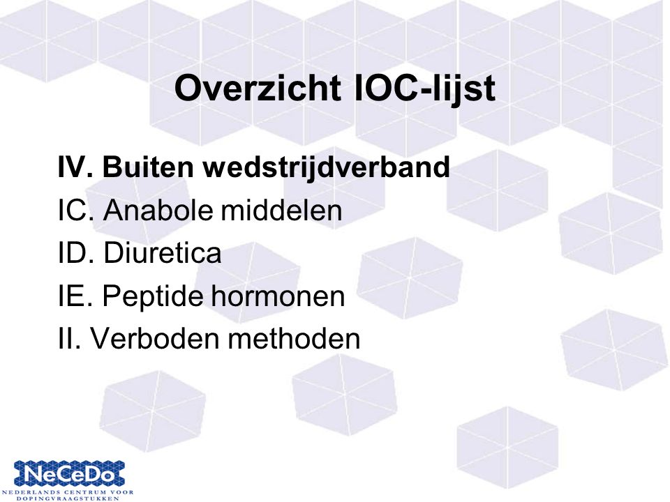 Overzicht IOC-lijst IV. Buiten wedstrijdverband IC. Anabole middelen