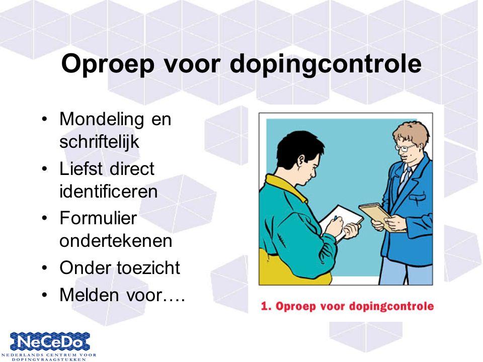 Oproep voor dopingcontrole