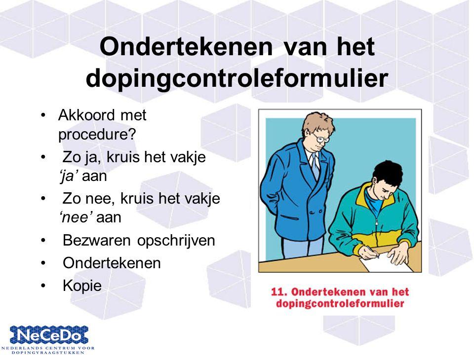 Ondertekenen van het dopingcontroleformulier