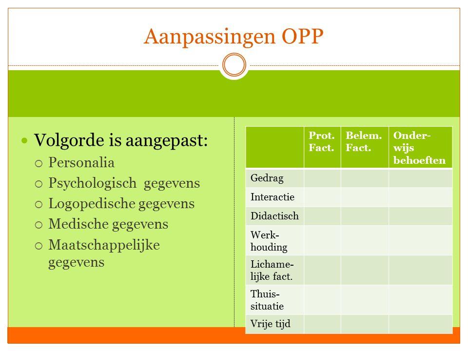 Aanpassingen OPP Volgorde is aangepast: Personalia