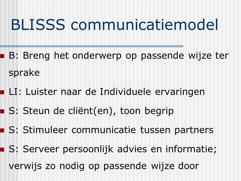 BLISSS communicatiemodel