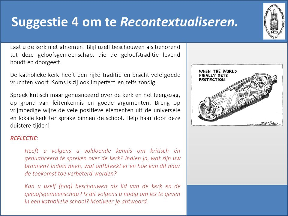 Suggestie 4 om te Recontextualiseren.
