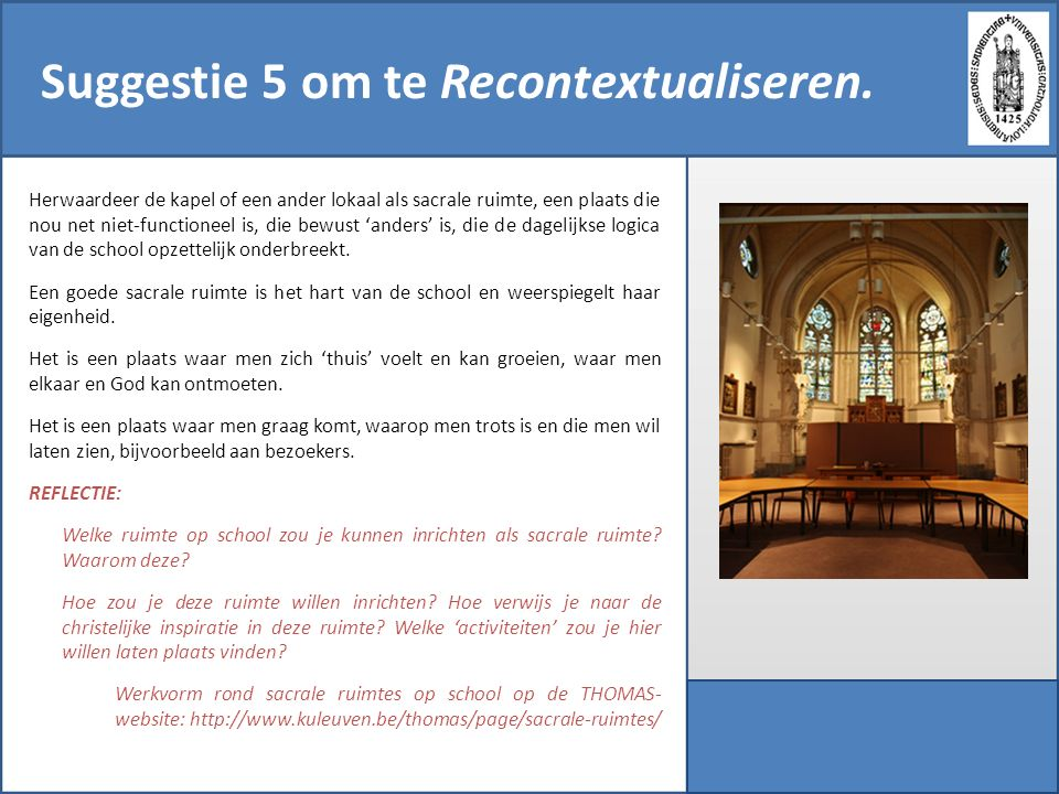 Suggestie 5 om te Recontextualiseren.
